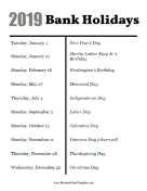 2019 Bank Holidays