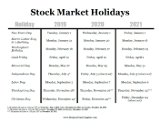 2019 Stock Market Holidays