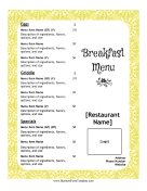 Breakfast Menu Casual