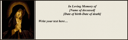 Customizable Virgin Mary Funeral Card (4 per page)