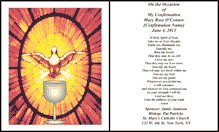 Holy Confirmation Card (2 per page)