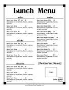 Lunch Menu Casual