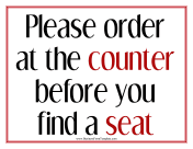 Order At Counter Sign