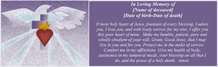Prayer To The Sacred Heart Funeral (4 per page)