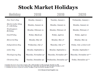 Stock Market Holidays Business Form Template