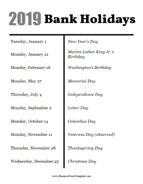2019 Bank Holidays Business Form Template