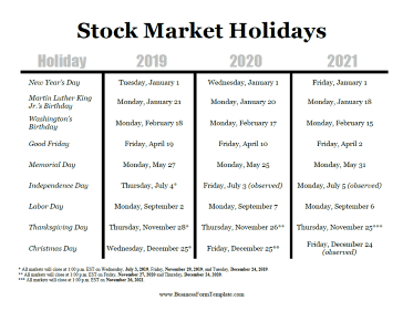 2019 Stock Market Holidays Business Form Template