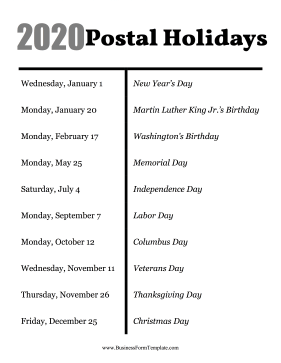 2020 Postal Holidays Business Form Template