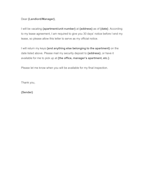 template for 30 day notice to landlord - 30 day notice to landlord template