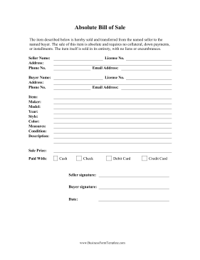 Absolute Bill Of Sale Business Form Template