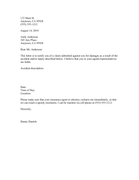 Accident Claim letter Business Form Template