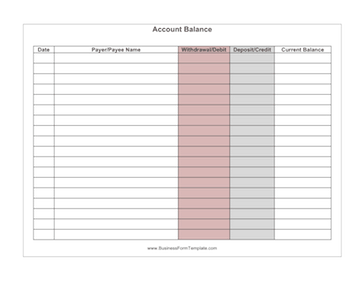 Account Balance Business Form Template  Free Printable Balance Sheet Template