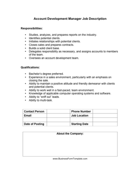 Account Development Manager Job Description Business Form Template