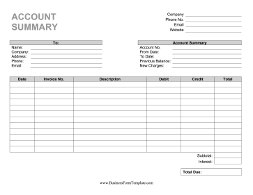 Account Statement Business Form Template