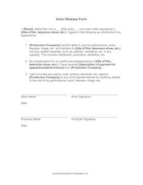Actor Release Form Business Form Template