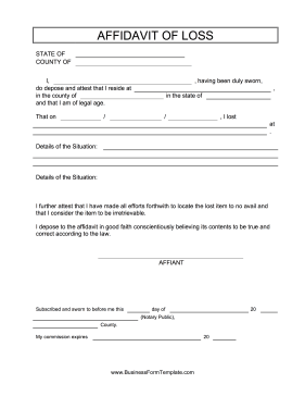 High Quality Affidavit Of Loss Business Form Template