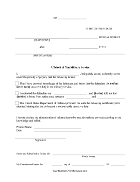 Affidavit Of Non-Military Service Business Form Template