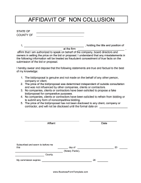 Affidavit Of Non Collusion Business Form Template