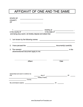 Affidavit Of One And The Same Business Form Template  Affidavit Word Template