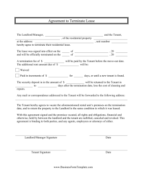 Agreement To Terminate Lease Business Form Template