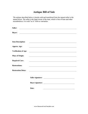Antique Bill of Sale Business Form Template