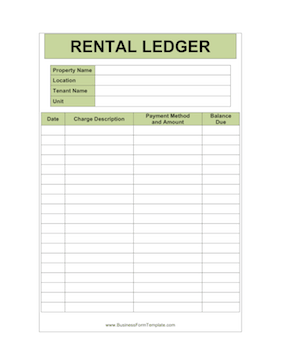 Apartment Manager Individual Ledger Business Form Template