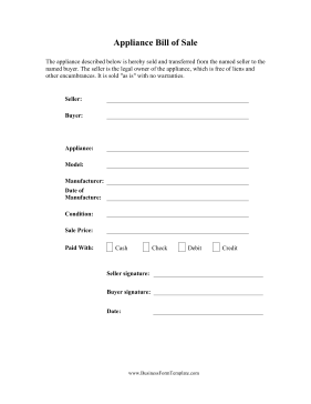 Appliance Bill Of Sale Business Form Template