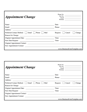 appointment change form template