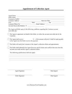Appointment Of Collection Agent Business Form Template