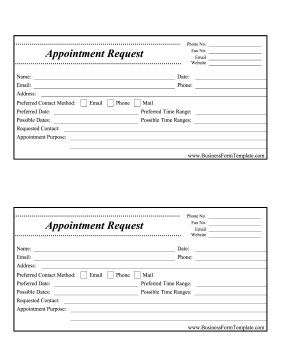 Appointment Request Form Business Form Template