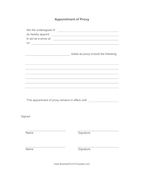 Appointment of Proxy Business Form Template