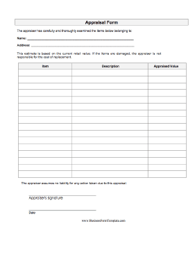 Appraisal Form Business Form Template