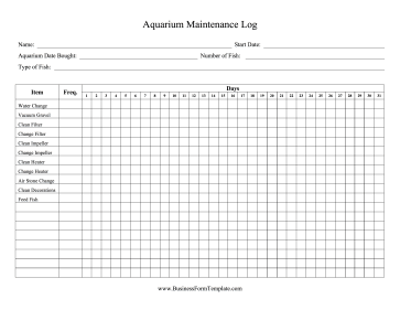 aquarium maintenance log template