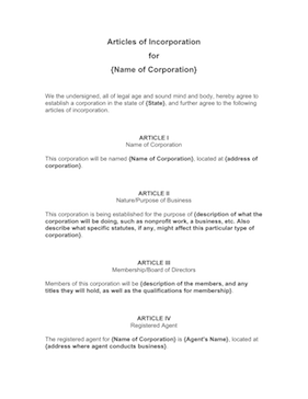 Articles of Incorporation Business Form Template