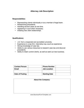 Attorney Job Description Business Form Template