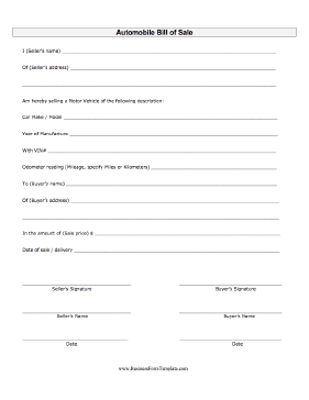 Auto Bill Of Sale Business Form Template