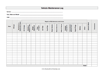 Auto Maintenance Log Business Form Template