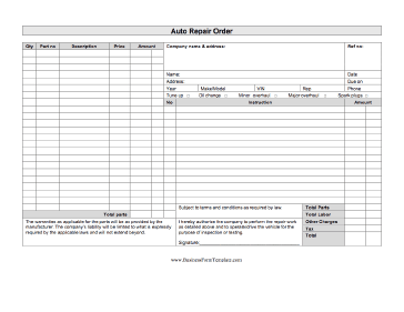 Auto repair order template for Repair ticket template