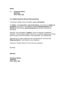 BBB Complaint Letter Business Form Template