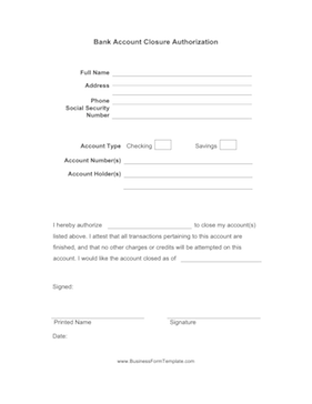Bank Account Closure Authorization Business Form Template