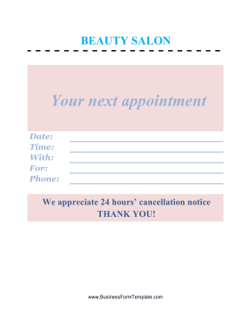 Beauty Salon Appointment Business Form Template