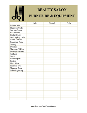 beauty salon equipment and furniture inventory card business form template