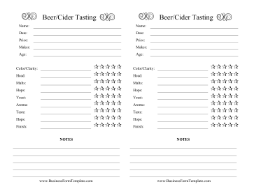 Beer Cider Tasting Log Business Form Template