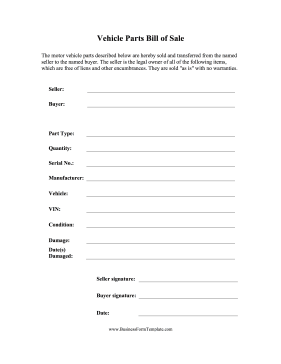 Bill of Sale Vehicle Parts Business Form Template