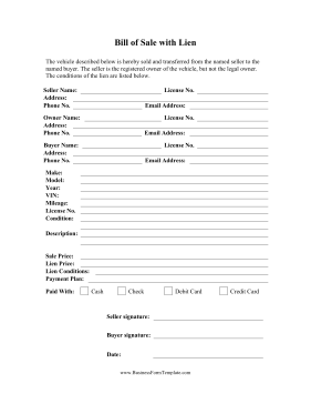 Bill of Sale With Lien Business Form Template