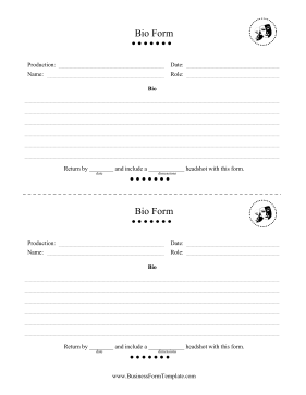 Bio Form Business Form Template