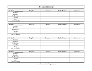 Blog Post Planner Business Form Template