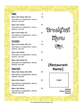 Breakfast Menu Casual Business Form Template