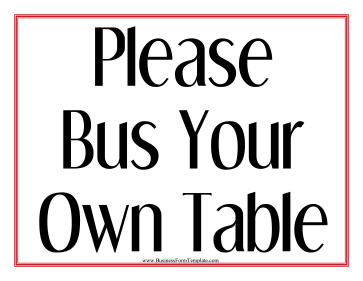 Bus Your Table Sign Business Form Template