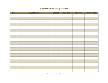 Business Checking Record Business Form Template